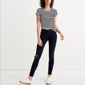 "Madewell 9"" Midrise Skinny jeans in Black Sea"